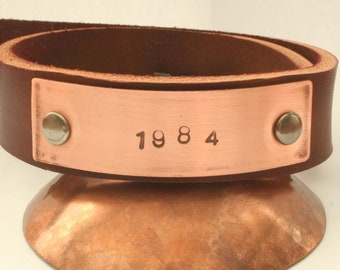 1984 leather and copper bracelet 8-9 inch wrist