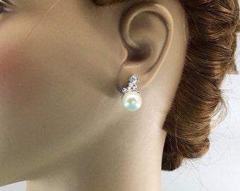 Swarovski Earrings, Crystal Earrings, Bridal Pearl Stud Earrings, Wedding Jewelry, Swarovski Crystal Jewelry, Crystal Wedding Jewelry,