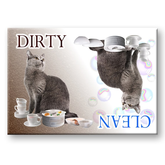 Russian Blue Clean Dirty Dishwasher Magnet No 1
