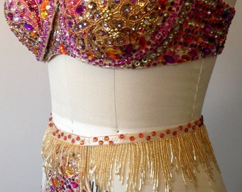 Tear away cup bra, waisted gstring, pasties, gold and fuchsia.