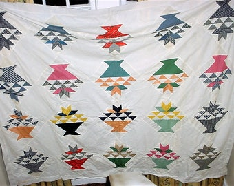 Flower Basket Quilt Top 68 by 83 in Unfinished