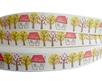 100% cotton natural red yellow home tree 15mm Ribbon
