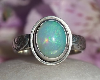 Australian Opal Ring - Silver Opal Ring - Sterling Silver Solid Opal Ring - small oval Opal ring - Opal Promise ring - US size 6