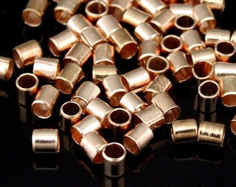 KZ-078 thai karen hill tribe handmade silver 80 rose gold vermeil plain short tube bead