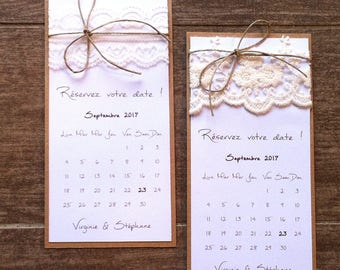 """Save the date / announcement """"calendar"""" and lace wedding invitation"""