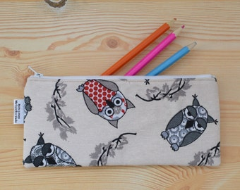 Owls pencil case,animals pencilcase,owls pouch,zippered pouch,kawaii pencil case,owl pouch,owls bag,owls print,travel pouch,zippered bag