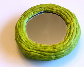 Handmade Green Ombre Paper Mache Compact Mirror: Meadow