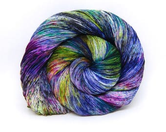 "Hardcore Sock Yarn - ""Acid Rainbow"" - Handpainted Superwash Merino - 463 Yards"