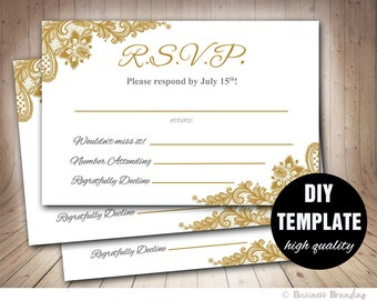 Gold Wedding RSVP Template DIY,Instant Download Printable RSVP Wedding Response Card,Microsoft Word Template,Gold Response Card Gold Lace