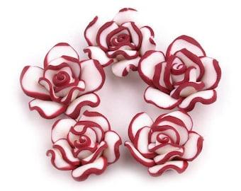 10 Roses, plastic (FIMO),red, 2 cm (1307)