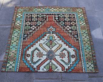 Boho Area Rug, 3.5 x 3.6 Feet, Vintage Turkish Rug, FREE SHIPPING, Oushak Rug, Tribal Pattern Rug, Turkish Rug, Vintage Floor Rug, No 1805