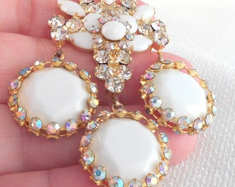 Vintage RARE DeLizza & Elster Juliana Drop Dangle Brooch Juliana Triple Drop Dangle Brooch Rare White and AB Stones Juliana Brooch