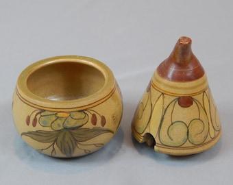Gorgeous Portuguese Pottery Jar, Pot, Artist Signed - Stylized, Vintage, Polychrome , Portugal Pottery, Folk Art