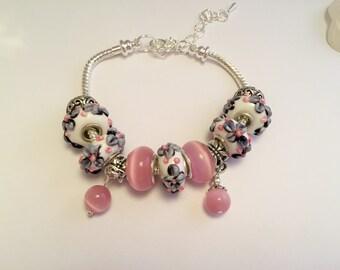 Bracelet charm's pink romantic ref 569