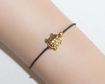 Gold Turtle Bracelet or Anklet, Tortoise, Sea Turtle, Nature Lover Gift Animal Jewelry Gold Plated Pewter