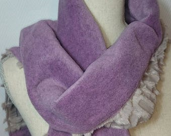 Croco Greige and fleece scarf purple