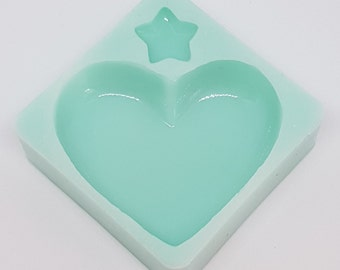 Silicone mold Heart and starlet/Shiny puffy heart Silicone Mold