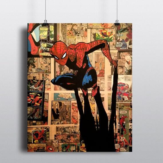 Marvel Comics Spider-Man Fine Art Painting Civil War Avengers