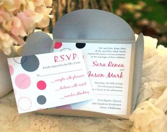 Moderne Dots - Petalfold Einladung zur Hochzeit (viele Farben verfügbar)