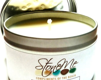 SEA SALT Soy Candle with Hidden Beach Stone Bead Scented Treasure Candle Tin & Drilled Pebble Charm Surprise 8 Oz.
