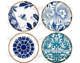 ASIAN BLUE PORCELAIN  (5) Digital Collage Sheet with Blue & White Oriental Faience - Circles  63mm for Pocket Mirror - Instant Download