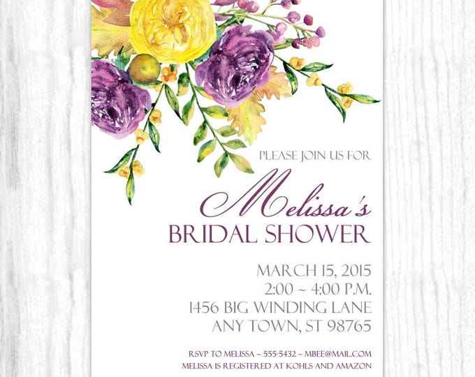 Printable Bridal Shower Invitation, Purple and Yellow Watercolor Floral Wedding Shower Invite, CUSTOM Design, 4x6 or 5x7