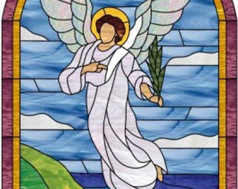So nice!  Angel & Seashore Stained Glass Window Panel (We do custom work! Please email me for a quick quote) Artglass Leaded