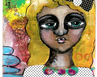 Girl with Polka Dots, Bow in Hair, Mixed Media Original Painting, 8x10 inches, The Power Within