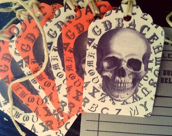 Victorian Typography Halloween Skull Tags from Curious London