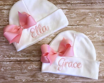 newborn hospital hat, girl newborn hat, hospital hat, personalized hospital hat, baby shower gift, newborn beanie, going home outfit hat