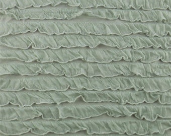 Sage Grey Ruffled Knit, Fabric By The Yard