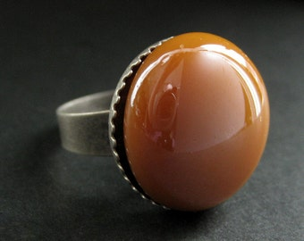 Sienna Orange Glass Ring in Silver. Tan Ring. Aged Silver Adjustable Ring. Handmade Jewelry.