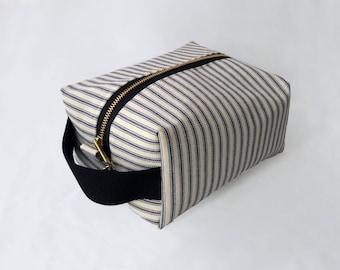 Large Striped Makeup Bag