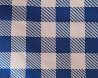"60"" Round Blue and White Checked Tablecloth"