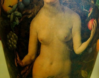 DECOUPAGE EDEN's GARDEN Original work on Vase Adam Eve and Diana