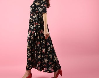 90s Vintage Dress // Vintage Dress // Floral Maxi Dress Sheer Summer Dress Loose Fit Midi Dress Size Medium M