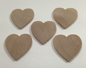 """2-1/2"""" Wood Hearts -  Set of 5 - Unfinished Wood Hearts - 1/4"""" Thick - Wooden Hearts"""