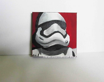 Mini Star Wars Stormtrooper First Order Art Acrylics On Stretched Canvas Sci-Fi  4 x 4 Inches