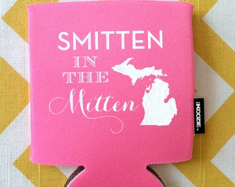Smitten in the Mitten wedding KOOZIE®, michigan KOOZIE®, mitten michigan wedding KOOZIE®, wedding favor, mitten wedding, Michigan bride