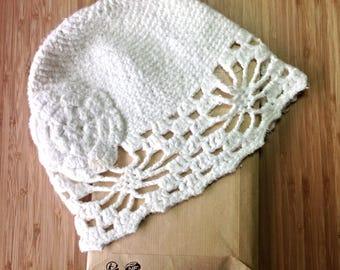 Vintage Floral Embroidery Pattern Stripe Knit Hat - ivory, ramie, cotton