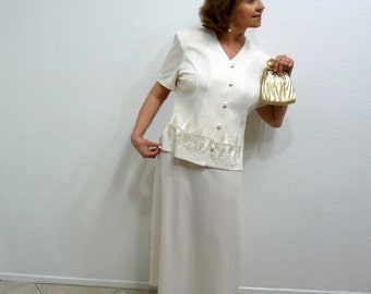 80s Women Suit 2 Piece Set Cream White Blouse and Skirt Lace Embroidered Wedding Party Size 18 XL