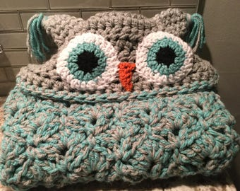 SALE - Hoodie Owl Blanket for Child Ready to Ship Free in US