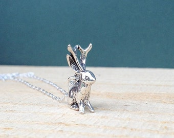 sterling silver jackalope necklace   charm necklace   gift for her
