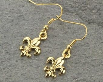 Fleur De Lis Earrings - Gold