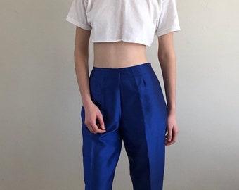 90s cropped silk pants / cobalt blue cigarette pants / cropped silk trousers / high waist silk pants |