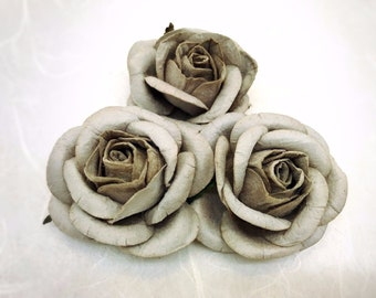 5 pcs. 50mm/2 inches large Gray mulberry roses - paper flowers #177