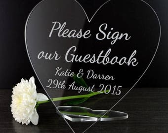 Please Sign Our Guest Book Plaque - Personalised Wedding Heart Table Sign