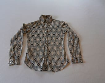 60's /  70's Cotton Blouse Beige with Black & Brown Marco Polo