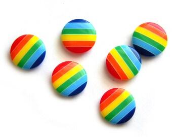 5 Rainbow Buttons 18mm