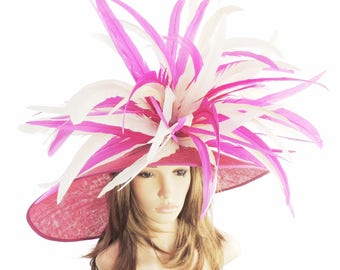 Gorgeous Cerise Dark Pink & Cream Woodpecker Hat for Kentucky Derby, Weddings (40 colours available)